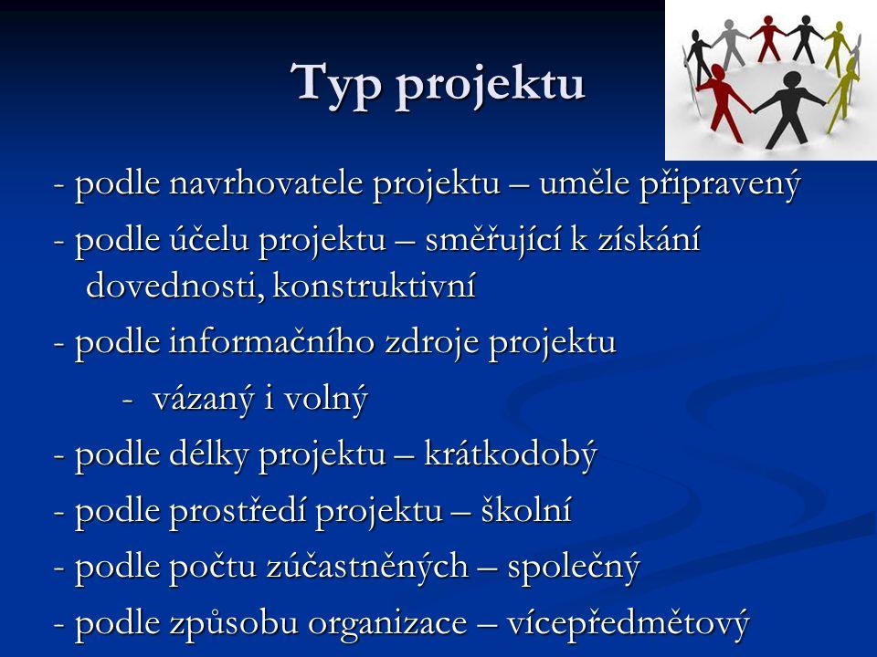 Typ projektu - podle navrhovatele projektu – uměle připravený
