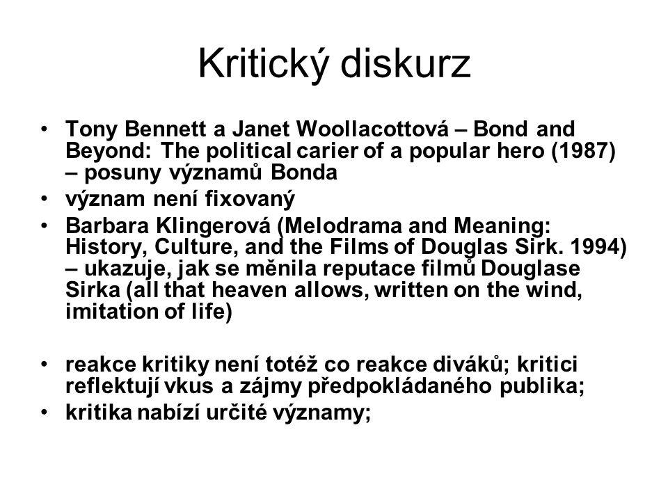 Kritický diskurz Tony Bennett a Janet Woollacottová – Bond and Beyond: The political carier of a popular hero (1987) – posuny významů Bonda.