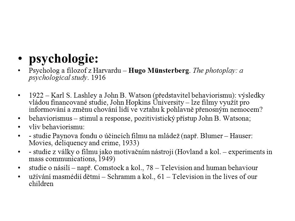 psychologie: Psycholog a filozof z Harvardu – Hugo Münsterberg. The photoplay: a psychological study. 1916.
