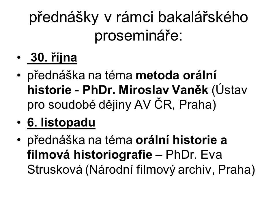 přednášky v rámci bakalářského prosemináře: