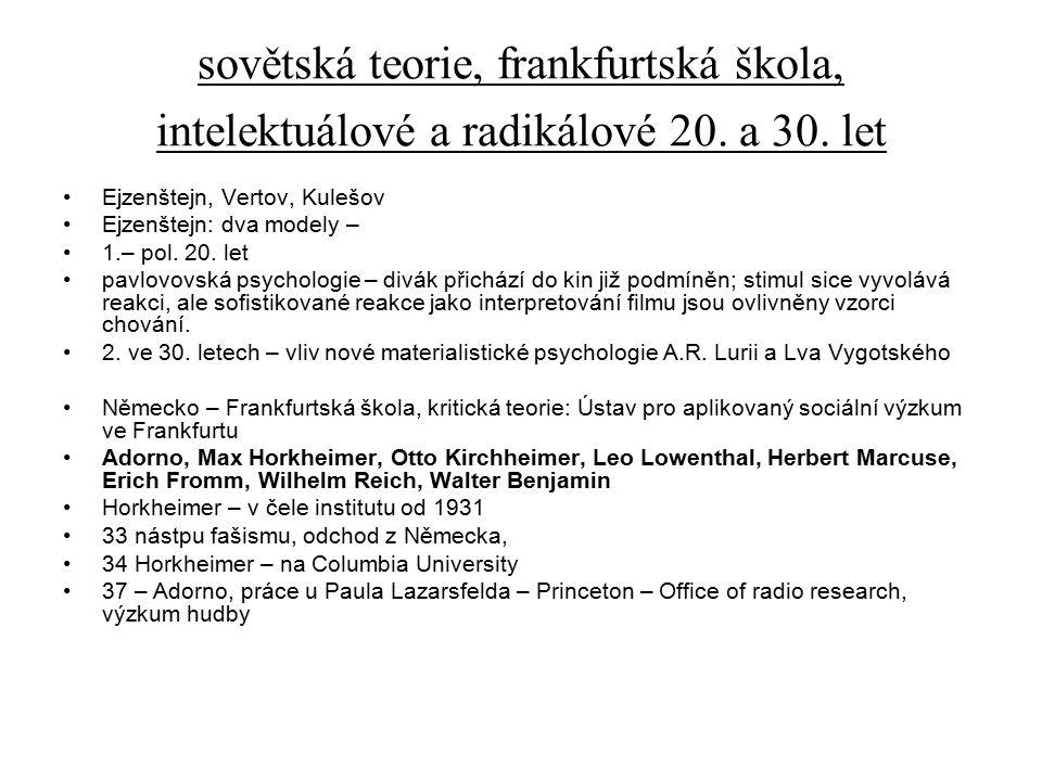 sovětská teorie, frankfurtská škola, intelektuálové a radikálové 20