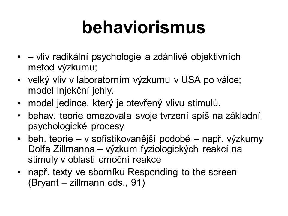 behaviorismus – vliv radikální psychologie a zdánlivě objektivních metod výzkumu;