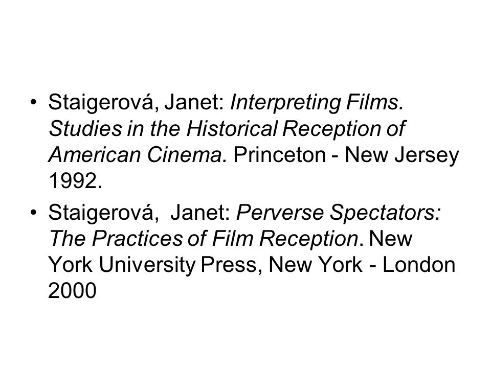 Staigerová, Janet: Interpreting Films