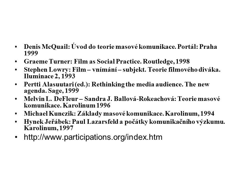 Denis McQuail: Úvod do teorie masové komunikace. Portál: Praha 1999