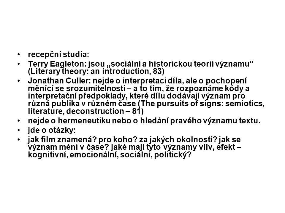 """recepční studia: Terry Eagleton: jsou """"sociální a historickou teorií významu (Literary theory: an introduction, 83)"""