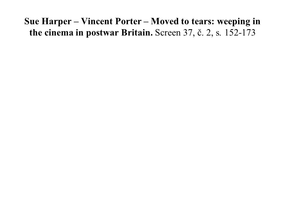 Sue Harper – Vincent Porter – Moved to tears: weeping in the cinema in postwar Britain.