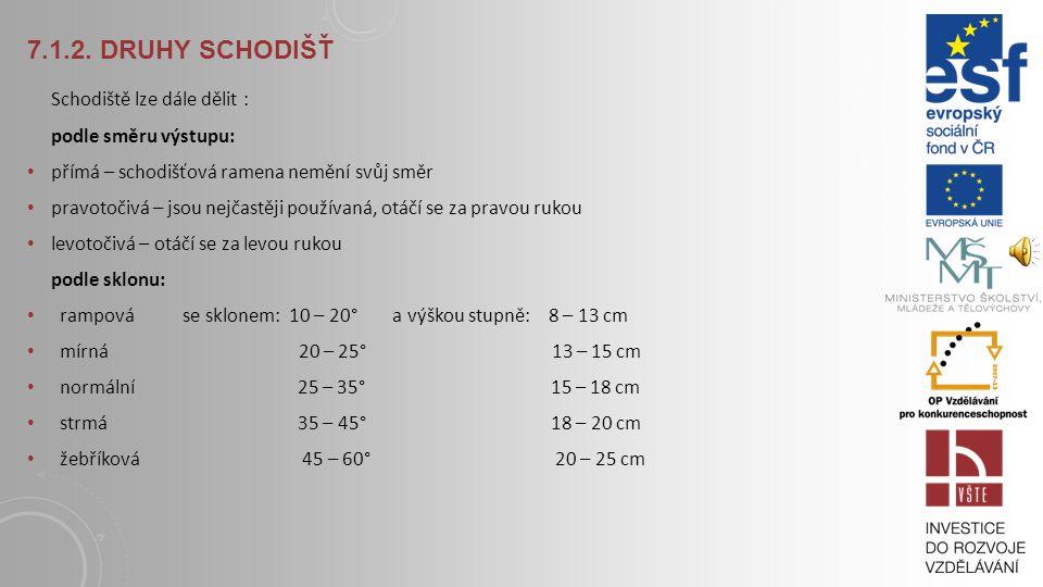 7.1.2. Druhy schodišť Schodiště lze dále dělit : podle směru výstupu:
