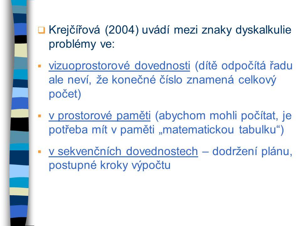 Krejčířová (2004) uvádí mezi znaky dyskalkulie problémy ve: