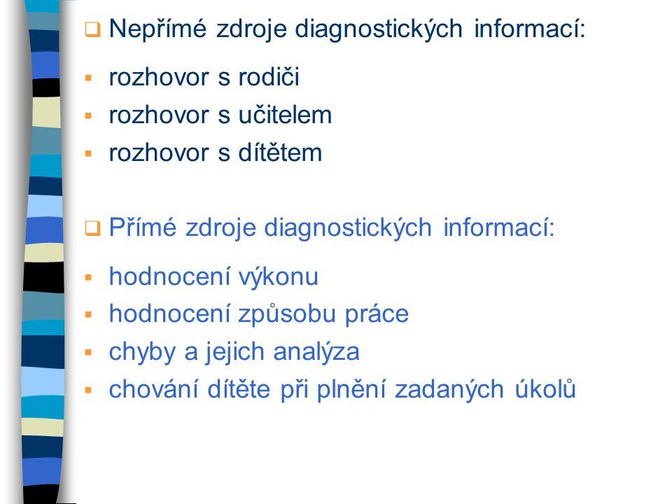 Nepřímé zdroje diagnostických informací: