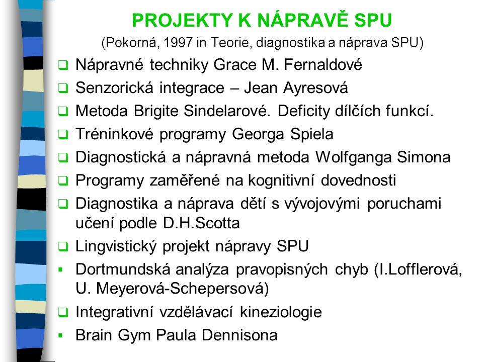 (Pokorná, 1997 in Teorie, diagnostika a náprava SPU)
