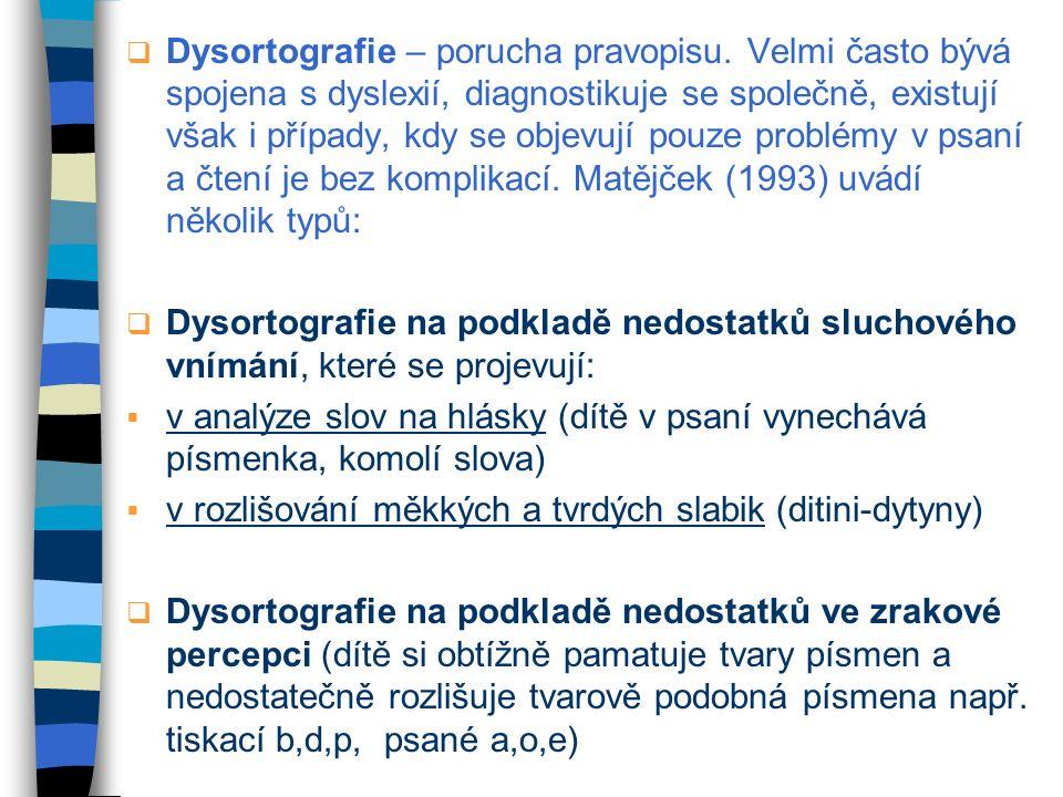 Dysortografie – porucha pravopisu
