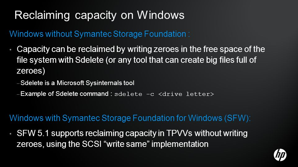 Reclaiming capacity on Windows