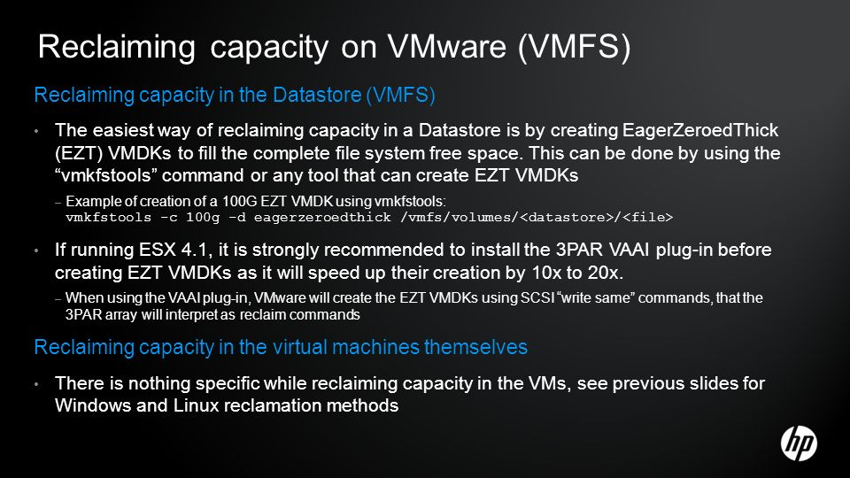 Reclaiming capacity on VMware (VMFS)