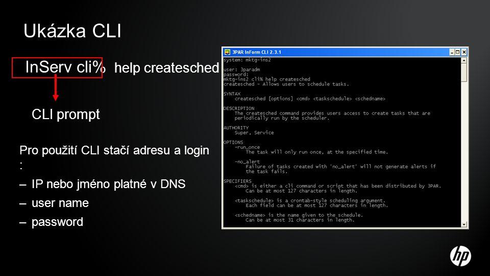 Ukázka CLI InServ cli% help createsched