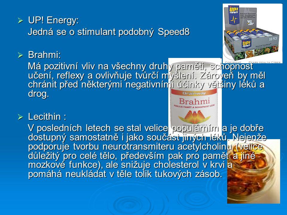 UP! Energy: Jedná se o stimulant podobný Speed8. Brahmi: