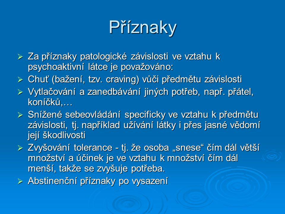 Příznaky Za příznaky patologické závislosti ve vztahu k psychoaktivní látce je považováno: Chuť (bažení, tzv. craving) vůči předmětu závislosti.