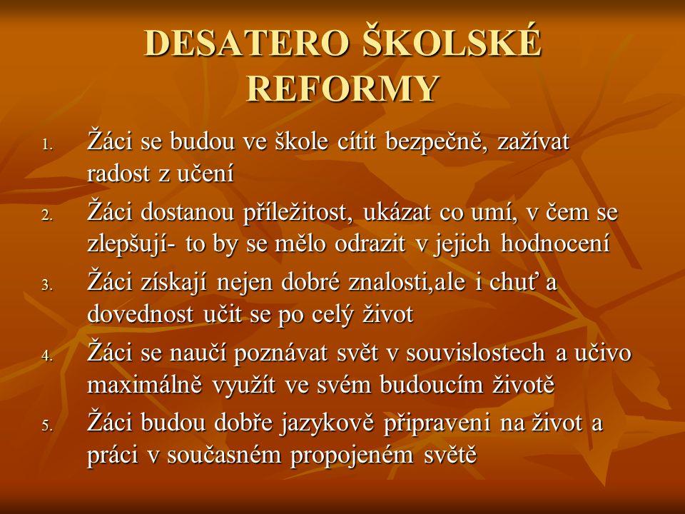 DESATERO ŠKOLSKÉ REFORMY