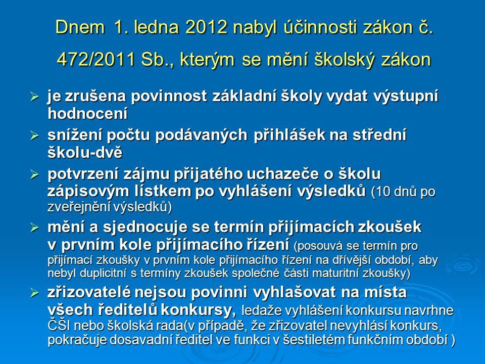 Dnem 1. ledna 2012 nabyl účinnosti zákon č. 472/2011 Sb