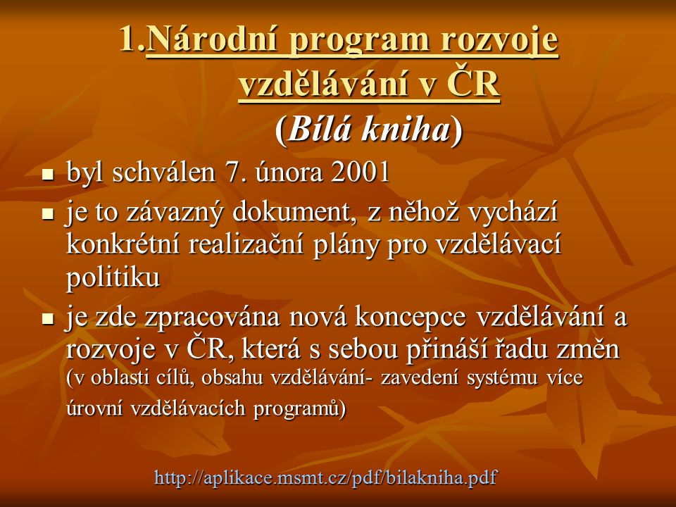 1.Národní program rozvoje vzdělávání v ČR (Bílá kniha)