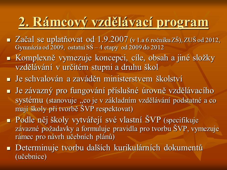 2. Rámcový vzdělávací program