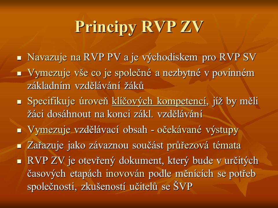 Principy RVP ZV Navazuje na RVP PV a je východiskem pro RVP SV