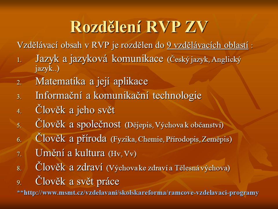 Rozdělení RVP ZV Vzdělávací obsah v RVP je rozdělen do 9 vzdělávacích oblastí : Jazyk a jazyková komunikace (Český jazyk, Anglický jazyk..)