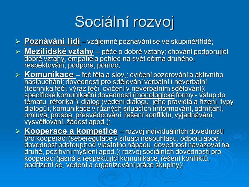 Sociální rozvoj Poznávání lidí – vzájemné poznávání se ve skupině/třídě;