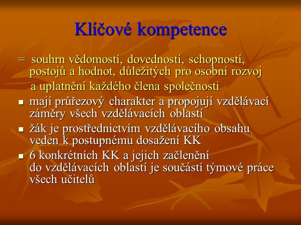 Klíčové kompetence = souhrn vědomostí, dovedností, schopností, postojů a hodnot, důležitých pro osobní rozvoj.
