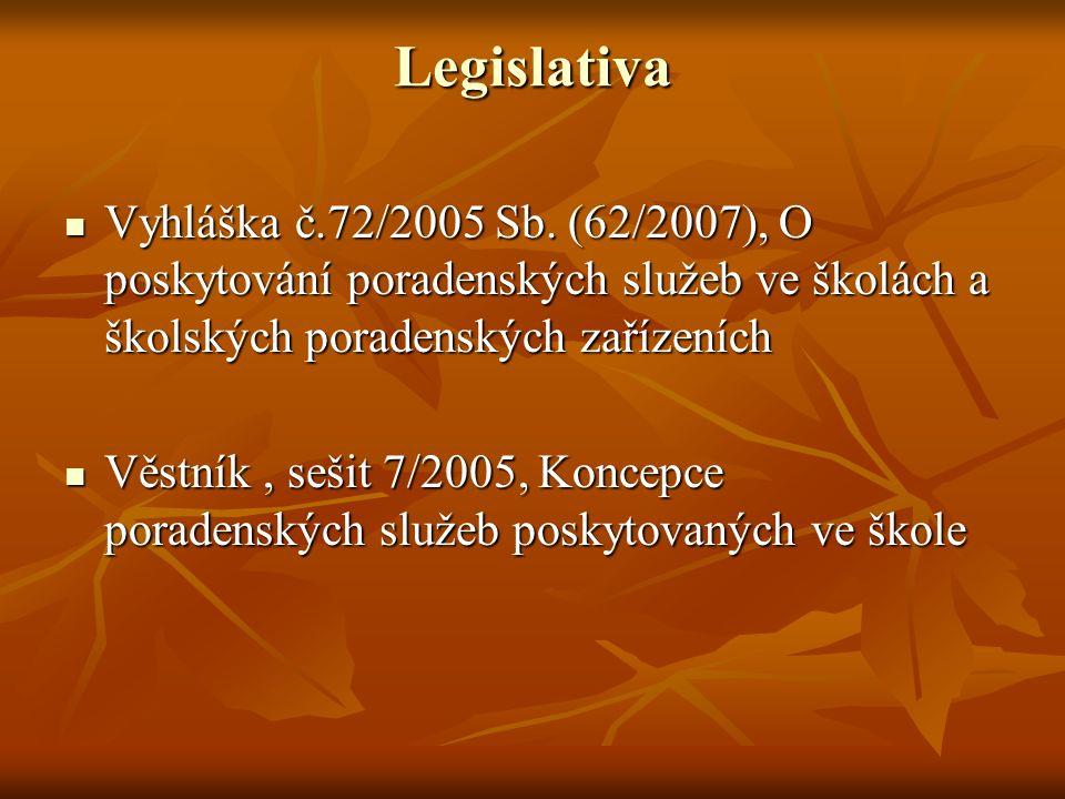 Legislativa Vyhláška č.72/2005 Sb. (62/2007), O poskytování poradenských služeb ve školách a školských poradenských zařízeních.