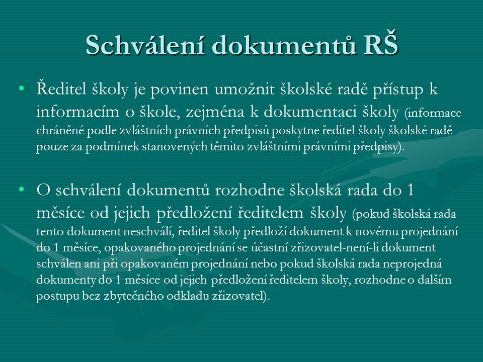 Schválení dokumentů RŠ
