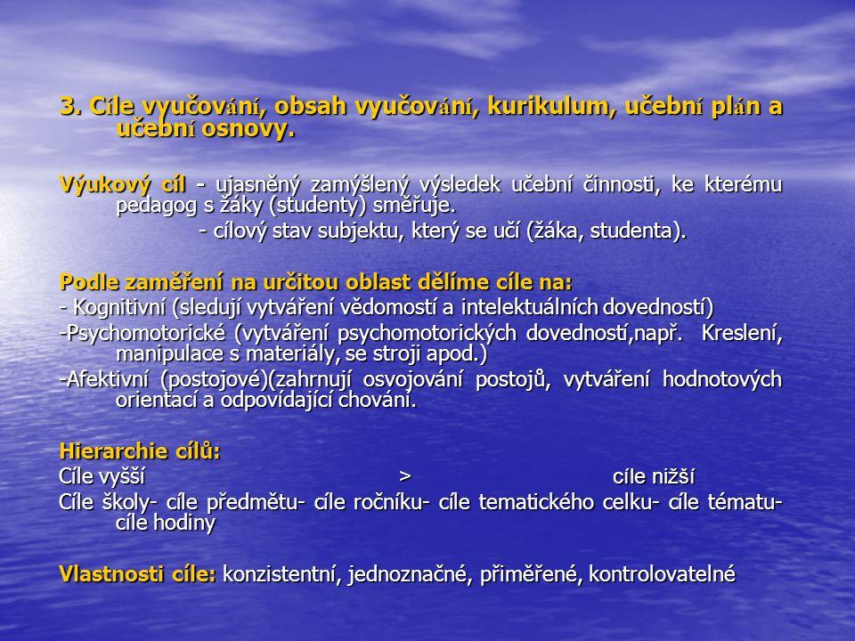 3. Cíle vyučování, obsah vyučování, kurikulum, učební plán a učební osnovy.