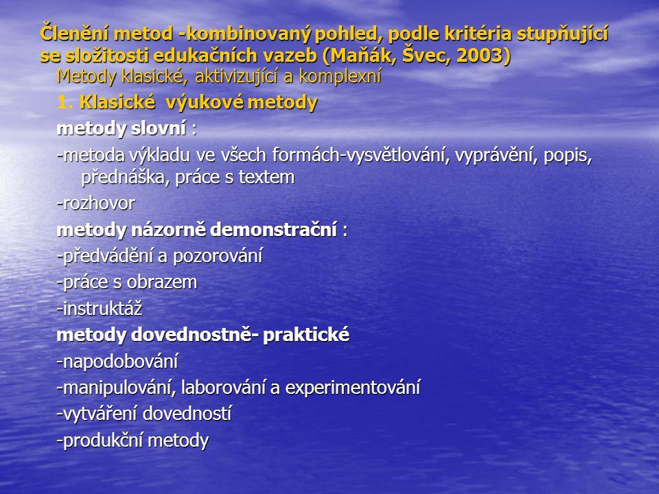 Členění metod -kombinovaný pohled, podle kritéria stupňující se složitosti edukačních vazeb (Maňák, Švec, 2003)