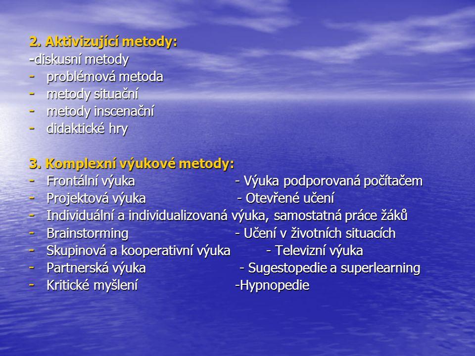 2. Aktivizující metody: -diskusní metody. problémová metoda. metody situační. metody inscenační.