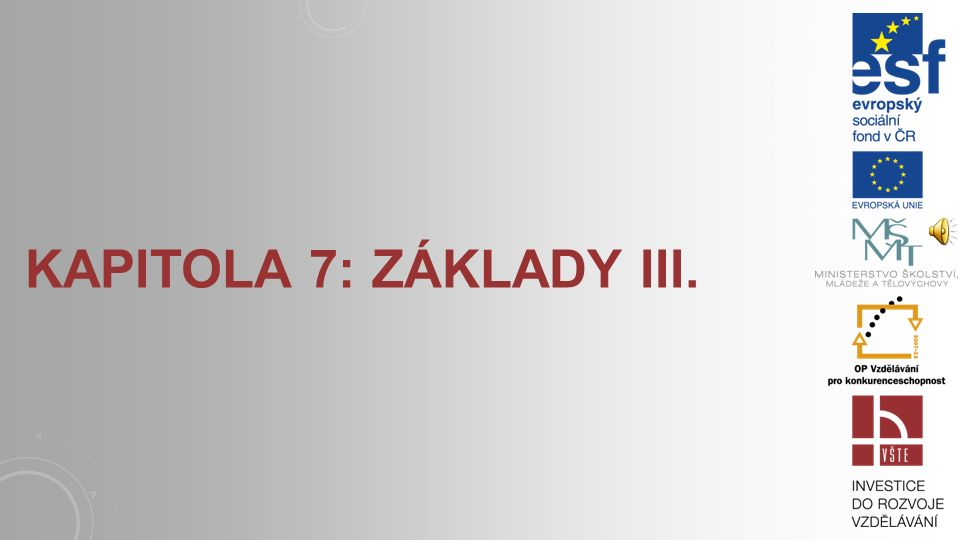 Kapitola 7: Základy III.