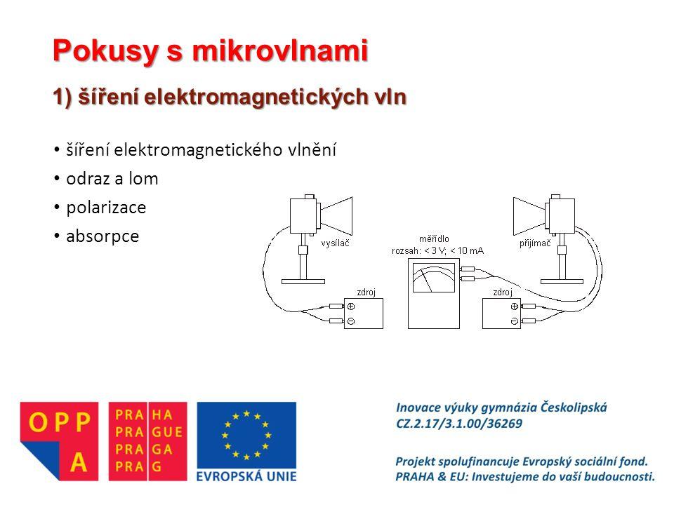 Pokusy s mikrovlnami 1) šíření elektromagnetických vln