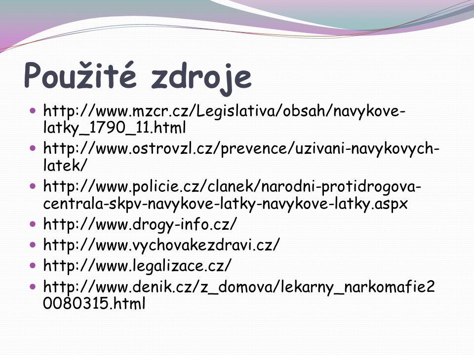 Použité zdroje http://www.mzcr.cz/Legislativa/obsah/navykove-latky_1790_11.html. http://www.ostrovzl.cz/prevence/uzivani-navykovych-latek/