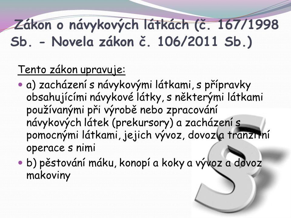 Zákon o návykových látkách (č. 167/1998 Sb. - Novela zákon č