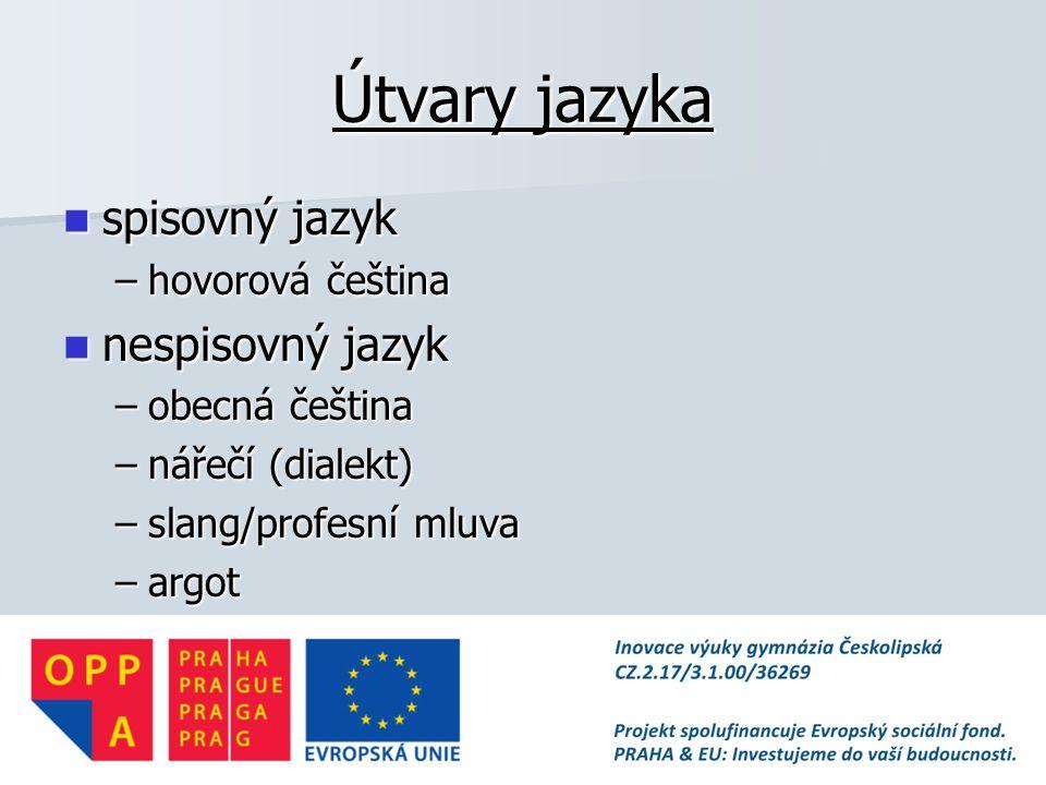 Útvary jazyka spisovný jazyk nespisovný jazyk hovorová čeština