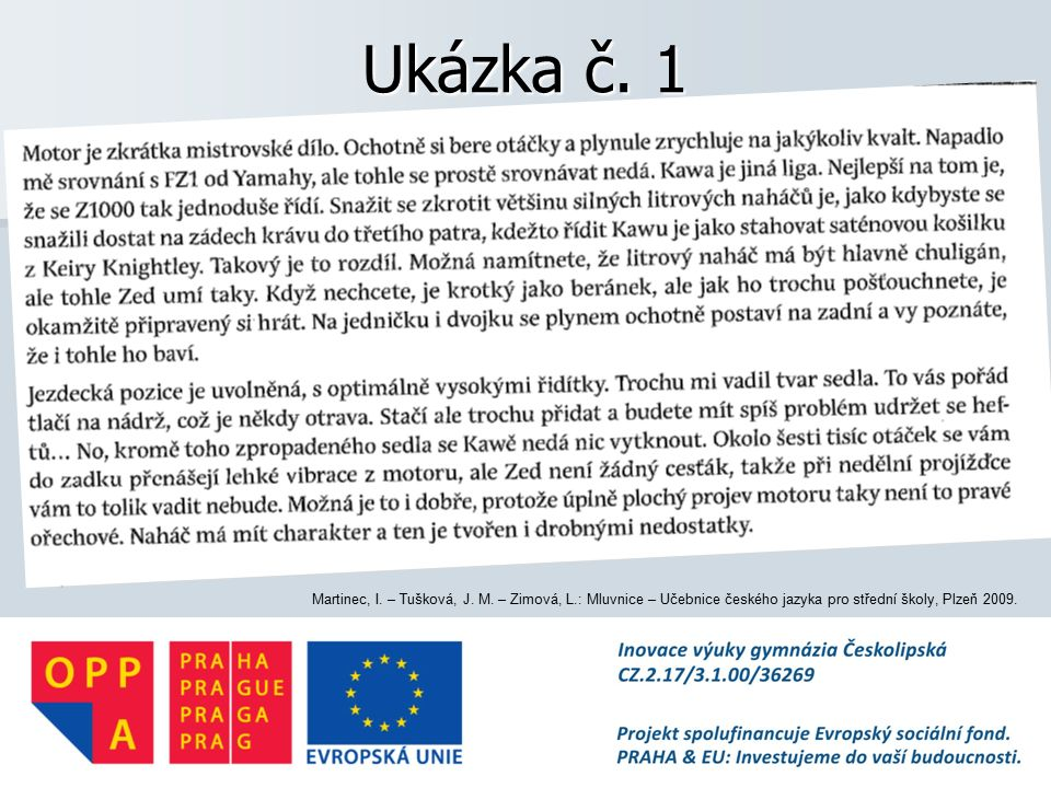 Ukázka č. 1 Martinec, I. – Tušková, J. M.