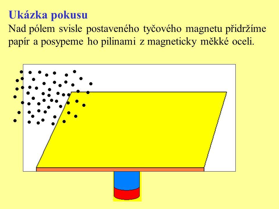 Ukázka pokusu Nad pólem svisle postaveného tyčového magnetu přidržíme