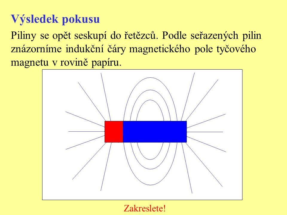 Výsledek pokusu Piliny se opět seskupí do řetězců. Podle seřazených pilin. znázorníme indukční čáry magnetického pole tyčového.
