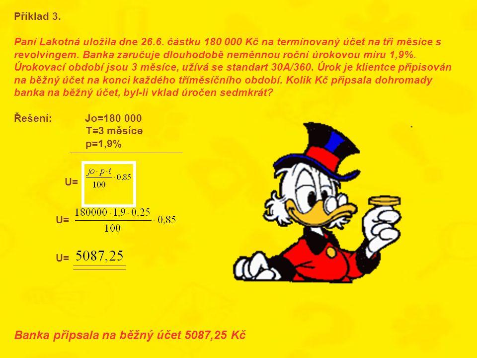 Banka připsala na běžný účet 5087,25 Kč