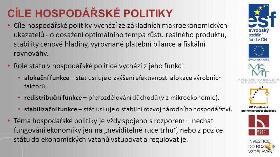 CÍLE HOSPODÁŘSKÉ POLITIKY