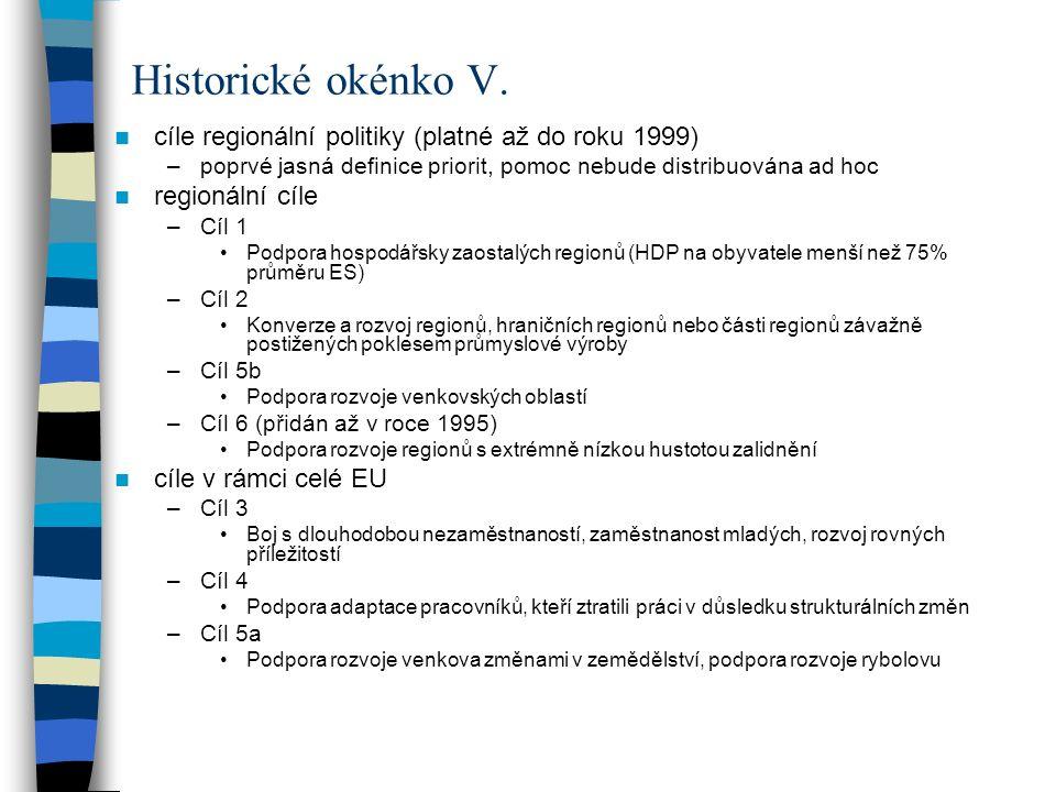 Historické okénko V. cíle regionální politiky (platné až do roku 1999)