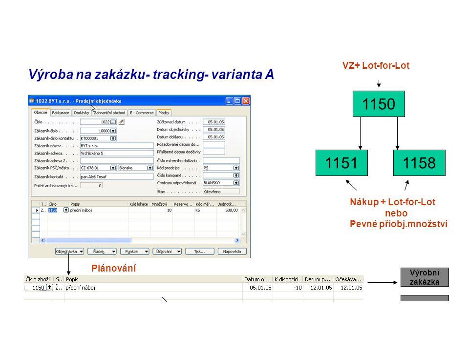 Výroba na zakázku- tracking- varianta A