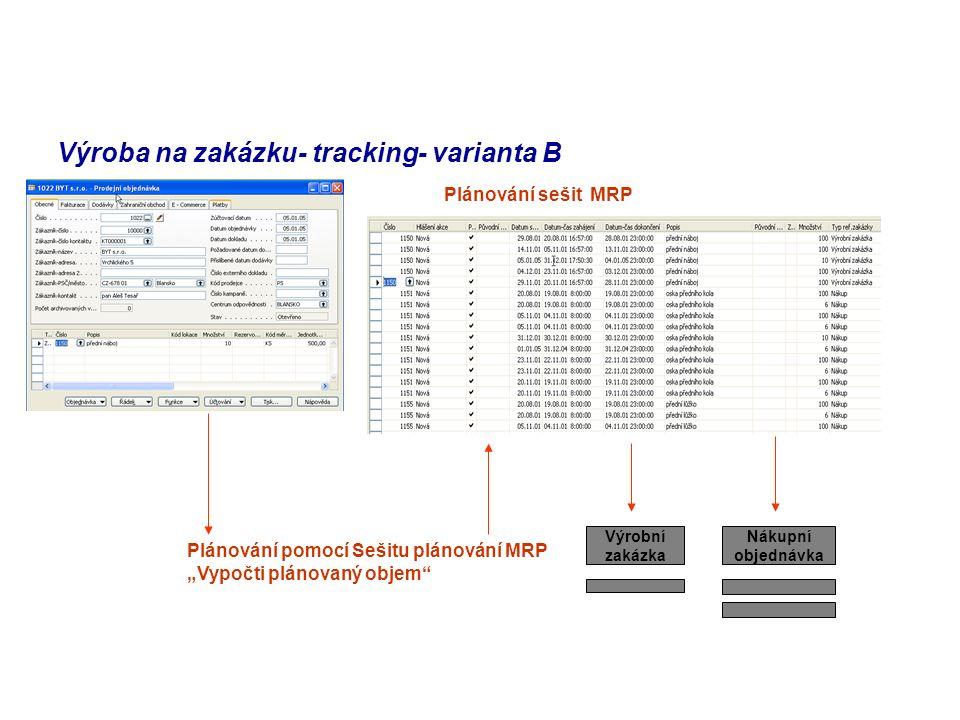 Výroba na zakázku- tracking- varianta B
