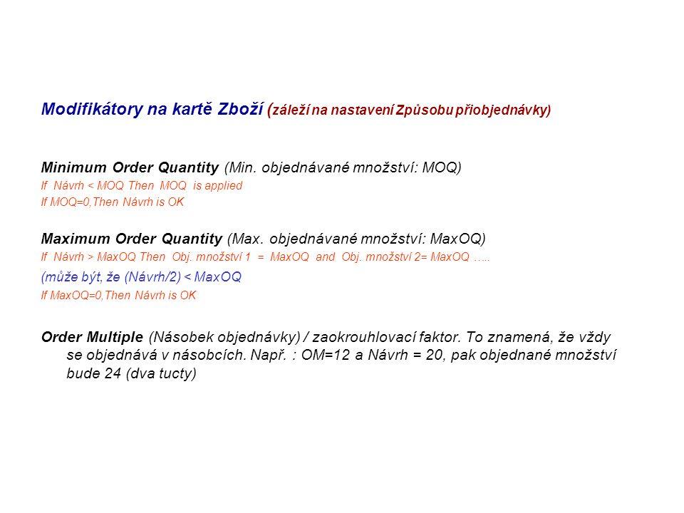 Modifikátory na kartě Zboží (záleží na nastavení Způsobu přiobjednávky)