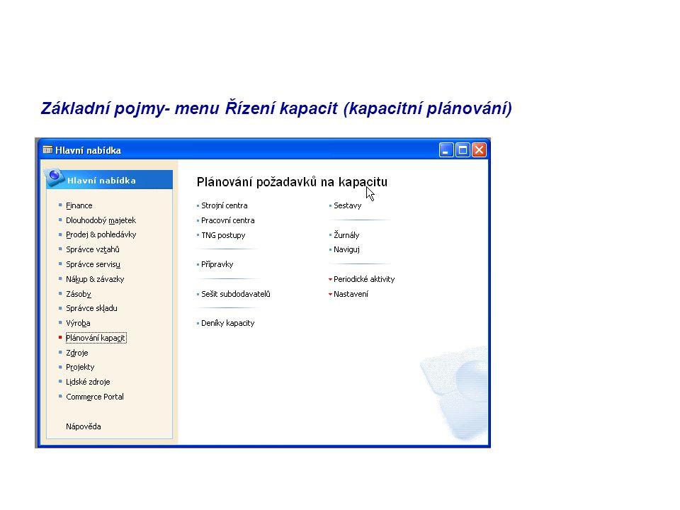 Základní pojmy- menu Řízení kapacit (kapacitní plánování)
