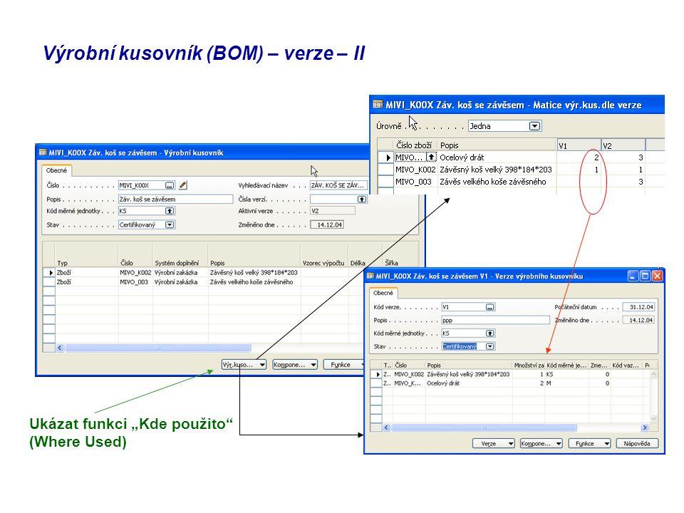 Výrobní kusovník (BOM) – verze – II