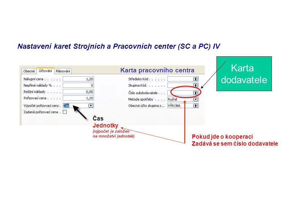 Nastavení karet Strojních a Pracovních center (SC a PC) IV